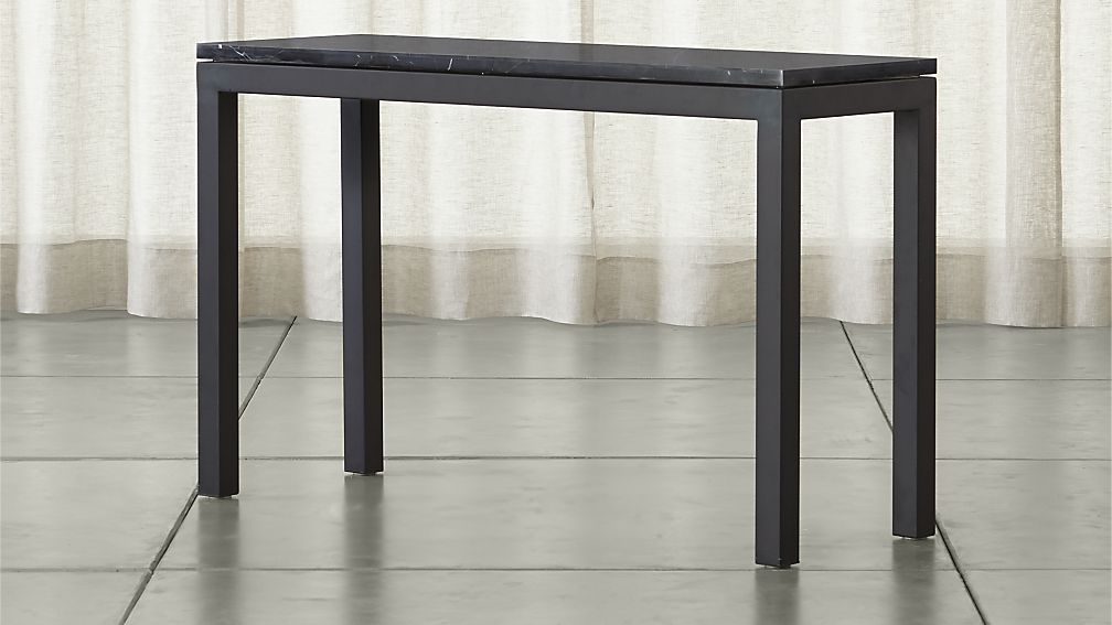 Parsons Black Marble Top Dark Steel Base 48x16 Console Crate And Barrel Steel Console Table Console Table Marble Top