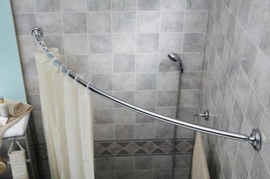 Curved Shower Curtain Rod In Corner Side Vinyl Curtains