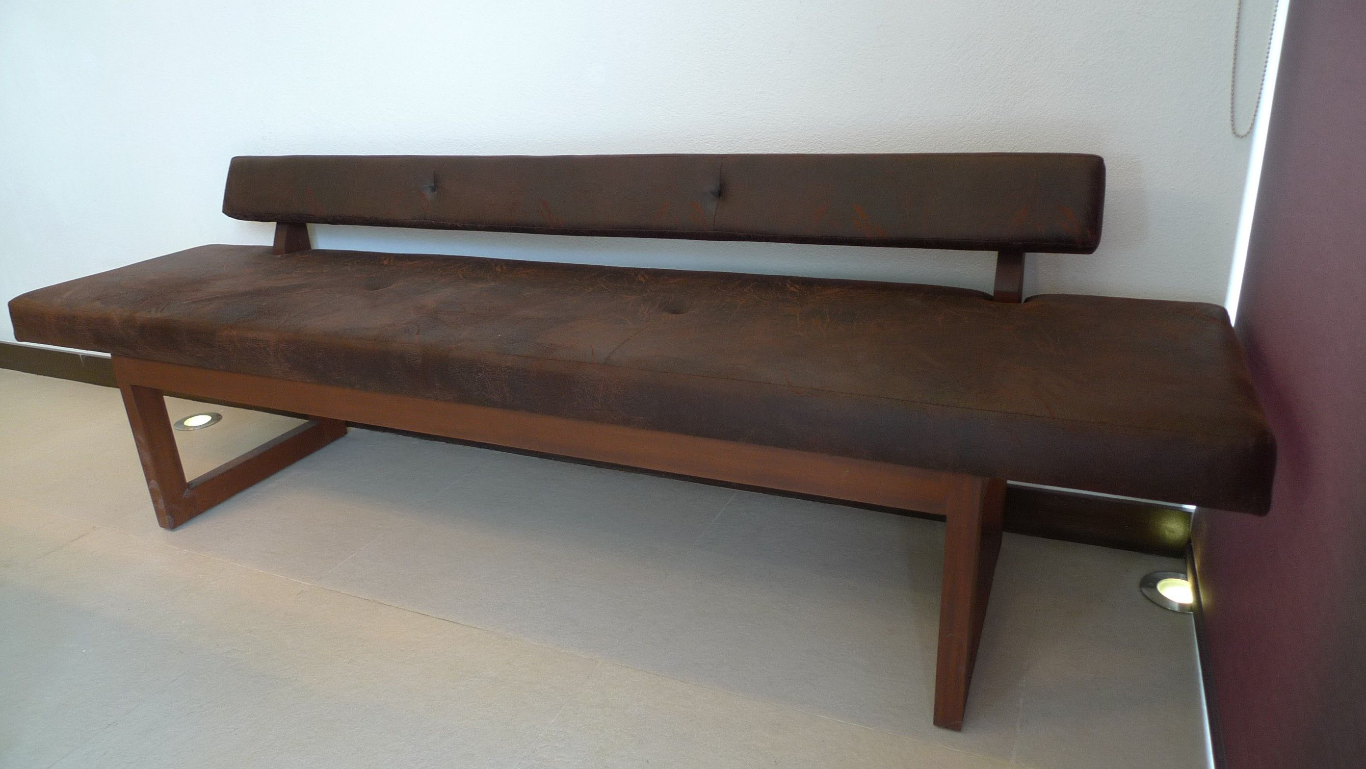 Brown Wooden Dining Bench With Dark Brown Seat And Back Combined With Two Legs Placed On T Upholstered Dining Bench Dining Bench With Back Wooden Dining Bench