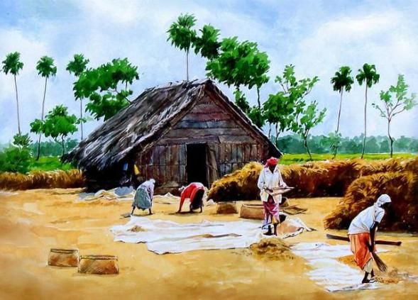 Indian Watercolor Paintings Indian Art Paintings Scenery Paintings