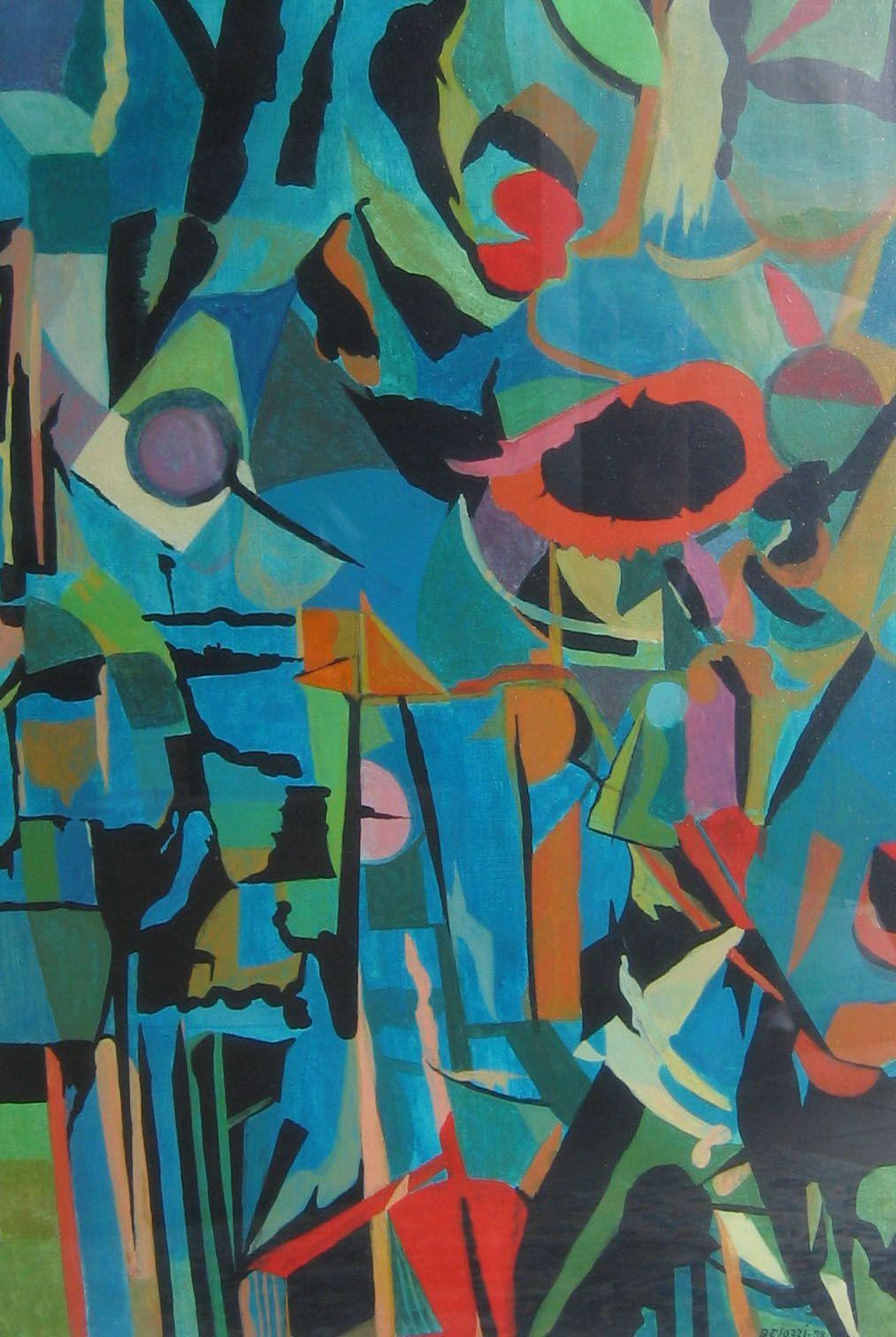 Ermanno Besozzi pittore 1958 Fiori di campo olio e tempera su tela cm 70x50 arc 998