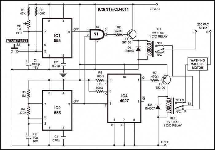 fig 1 circuit diagram of washing machine motor controller