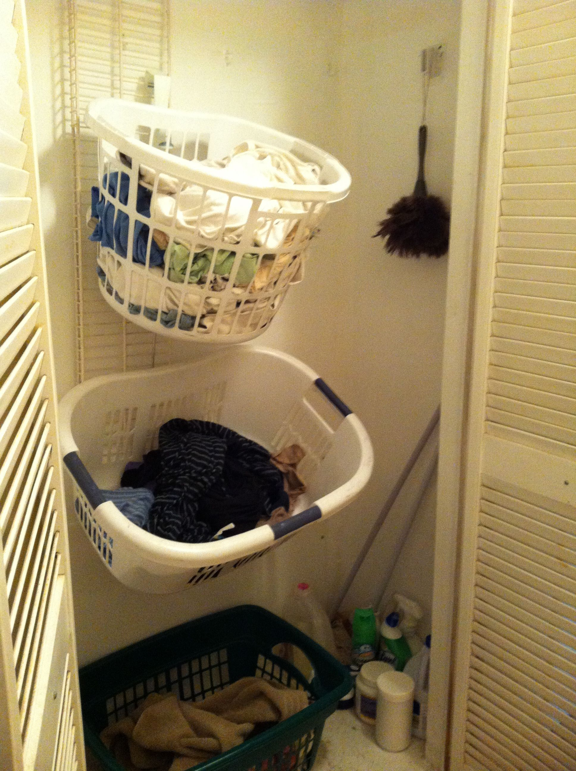 Hall Closet Vertical Laundry Sorter Use An Old Closet Shelf And