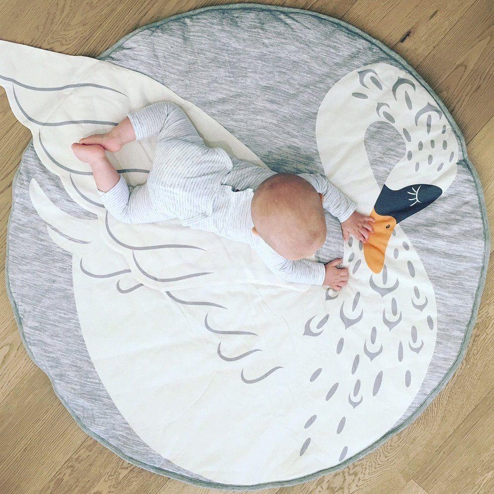 Mister Fly Swan Playmat Tapis Chambre Bébé, Tapis Rond, Tapis Eveil,  Accessoires,