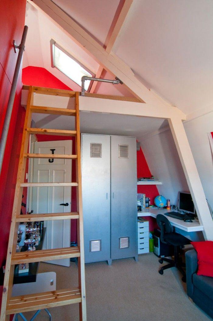 Hoogslaper plafond jongens slaapkamer zolder ravi pinterest hoogslaper plafond en jongens - Tiener mezzanine ...