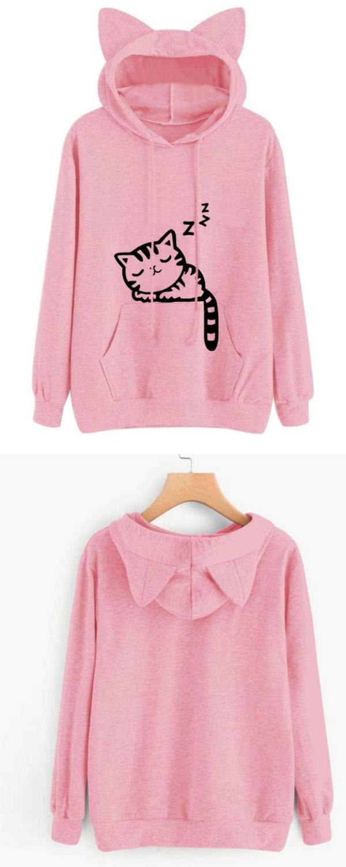 6b0eef6fdc105c BCDshop Sweatshirt Hooded Womens, Long Sleeve Hoodie Pullover with Cat Ear  Tops Blouse #hoodie #blouse #tops #sweatshirt #style