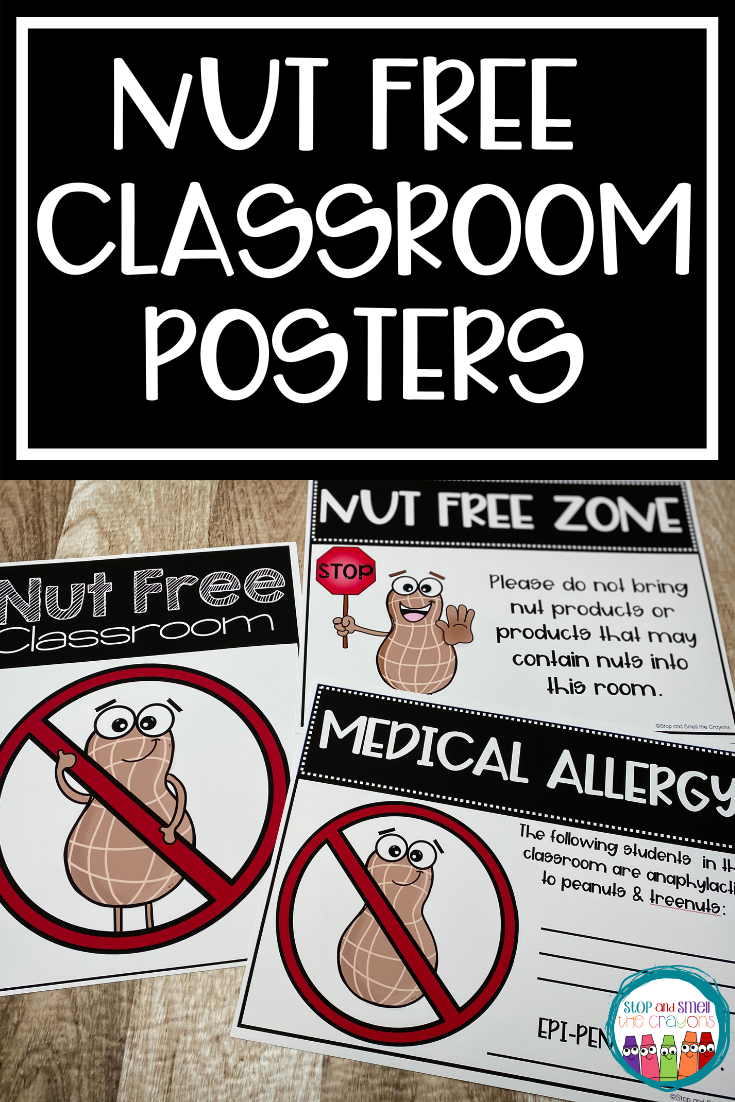 No Nut Sign Nut Free Classroom Posters Classroom