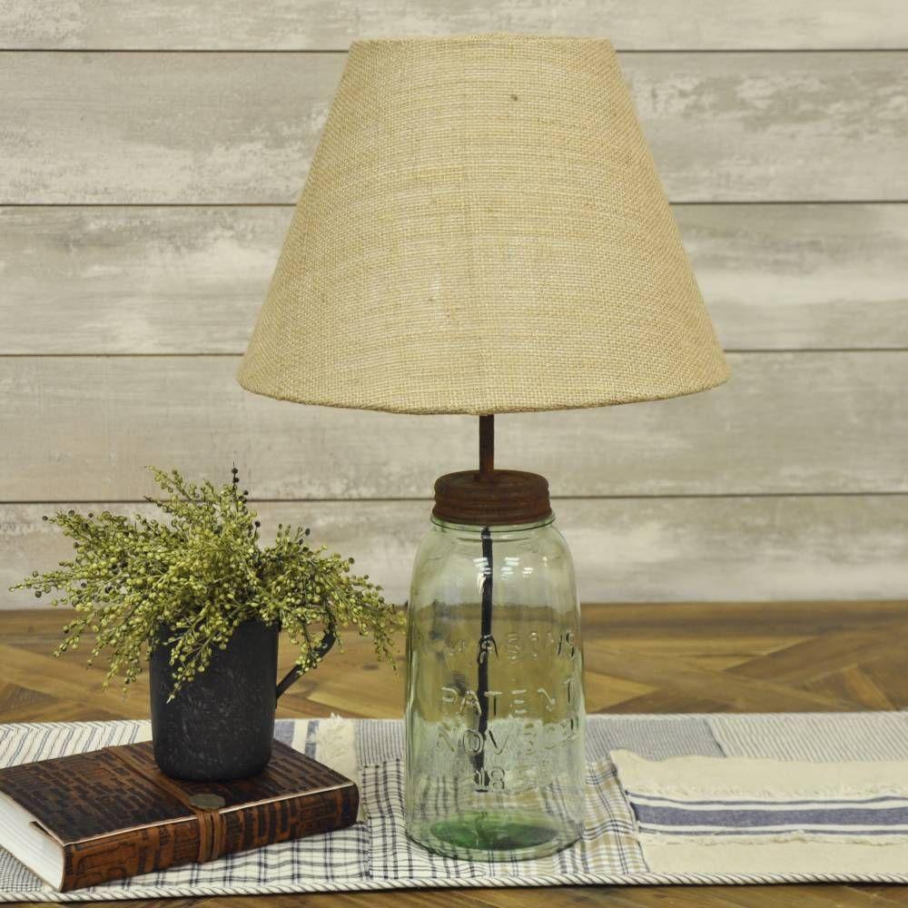 Mason Jar Lamp W Shade Mason Jar Lamp Lamp Green Lamp