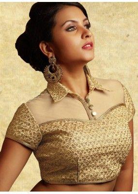 Party Wear Readymade Beige Dhupion Raw Silk Blouse - 77927