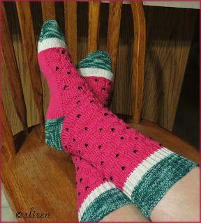 Slisen's Happy Place: Watermelon Socks, knit flat ...