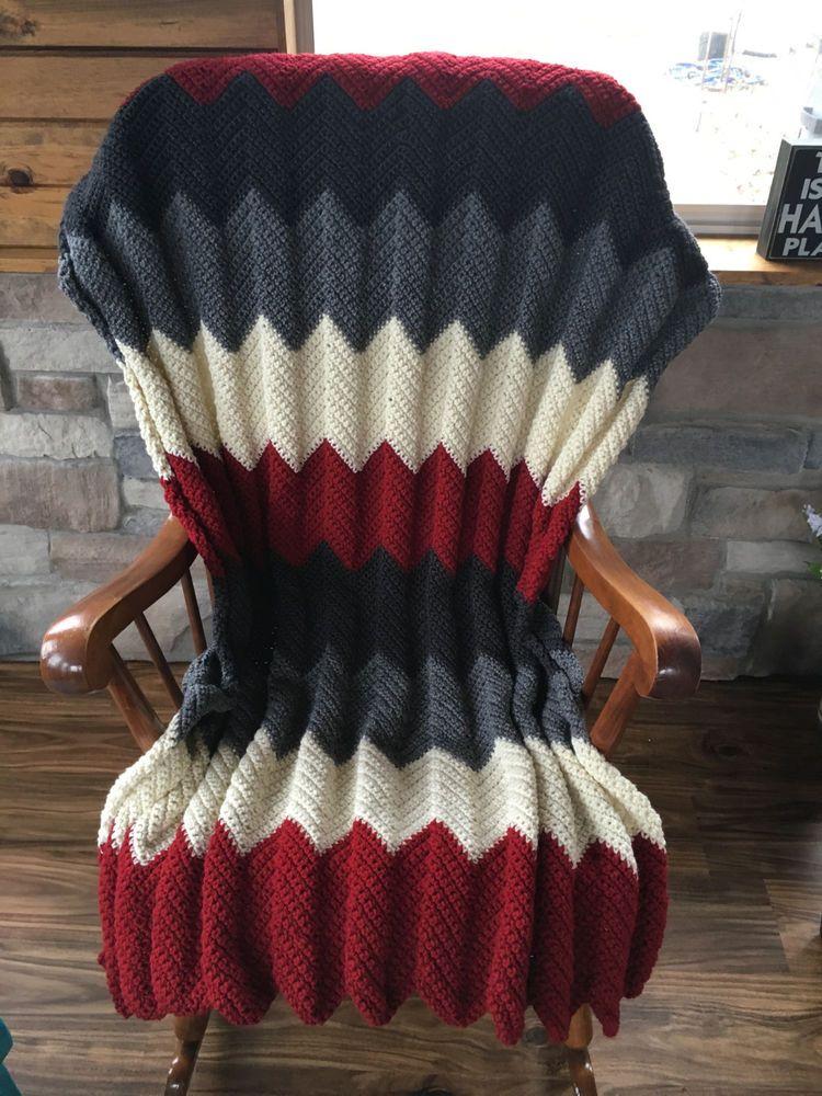 Handmade crochet afghan throw chevron - red-gray-black-white | Manta ...