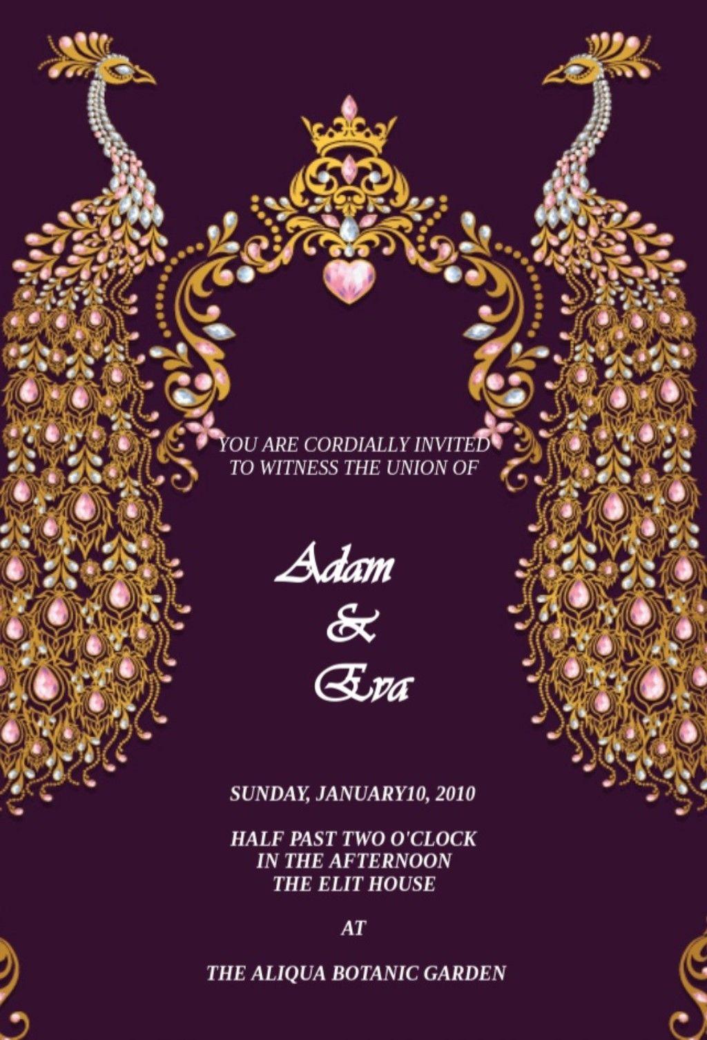 purple color peacock design wedding e cards  hindu