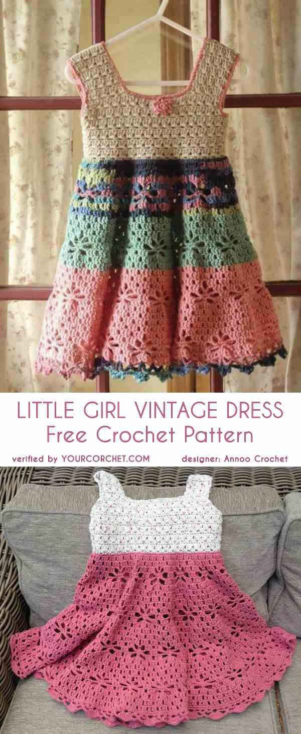 Little Girl Vintage Dress Free Crochet Pattern   tejido infantil ...