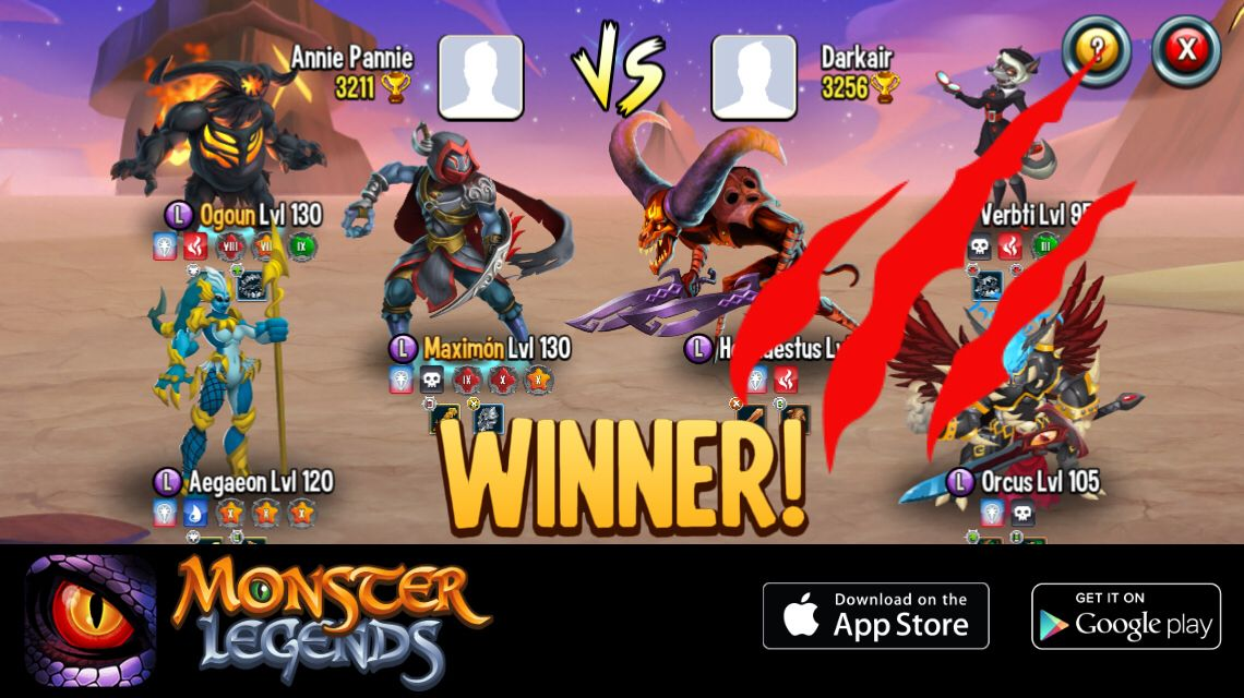 I rule at the Monster Legends Arena! If you dare to