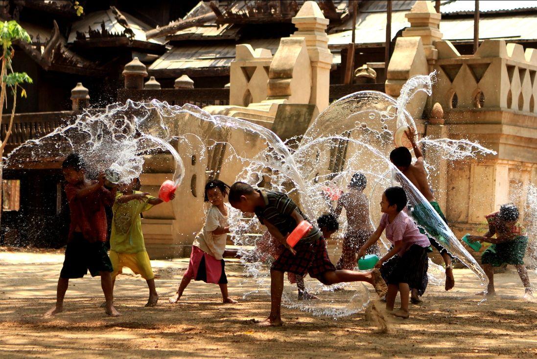water festival Vietnam vacation, Songkran festival, Myanmar