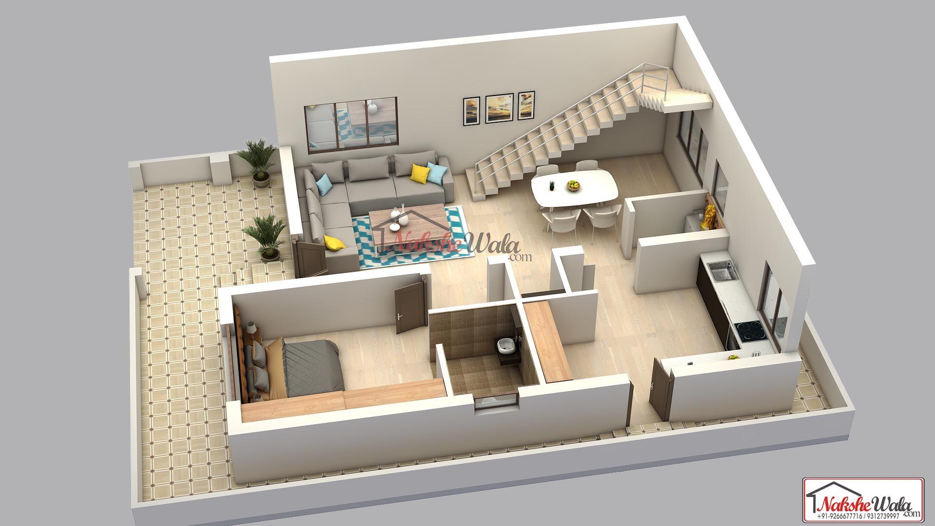 One Bhk 3d Floor Plan By Nakshewala Floor Plan Layout Floor Plan Design House Map