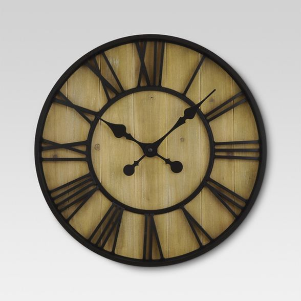 Roman 23 Wall Clock Black Bronze Pine Finish Threshold In 2020 Wall Clock Clock Metal Clock