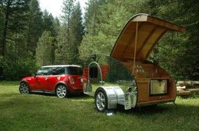 The Mini Teardrop Trailer -- can be towed by a Mini Cooper.