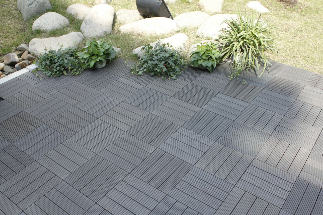 Naturesort Bamboo Composite 12 X 12 Deck Tiles In Grey Patio Flooring Deck Tiles Wood Patio