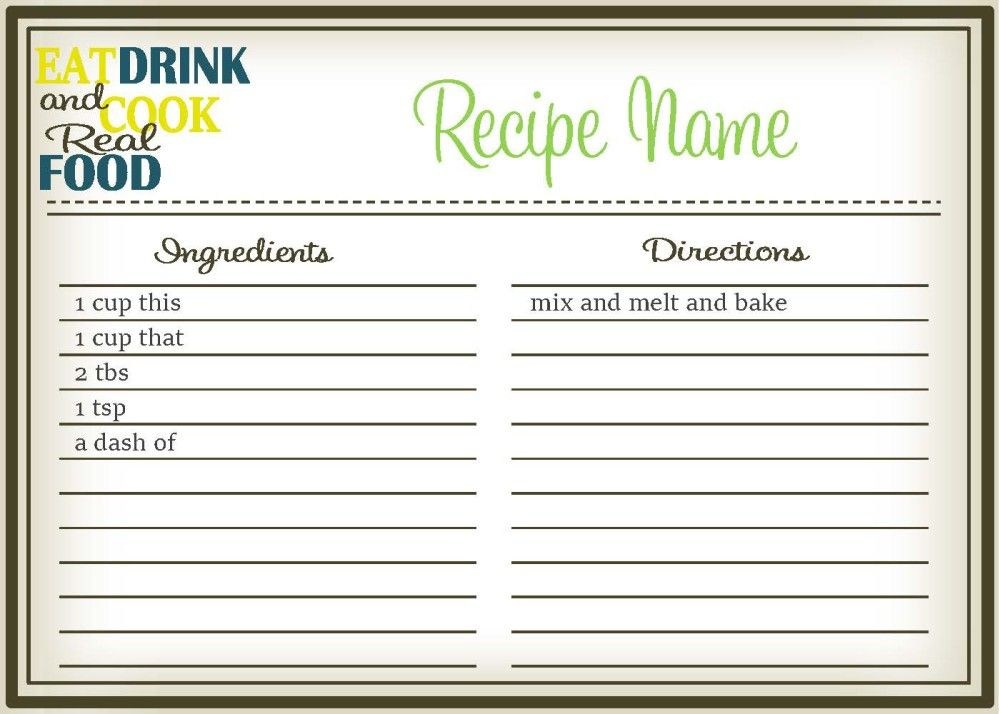 Real Food Recipe Cards Diy Editable The Healthy Honeys Recipe Cards Template Diy Recipe Cards Recipe Template