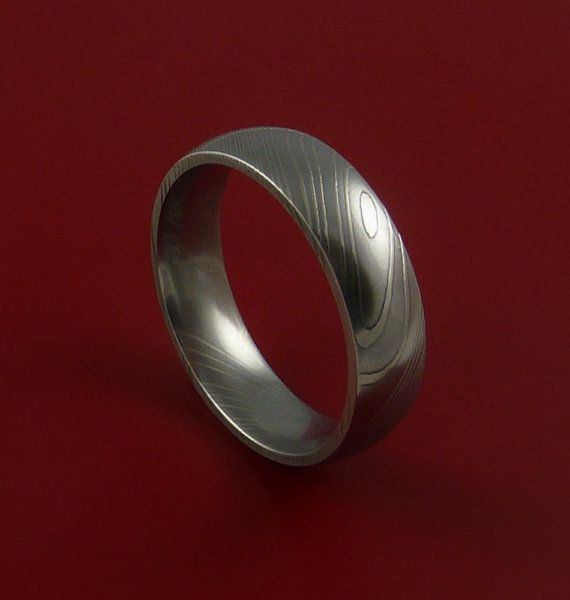 Damascus Steel Ring Wedding Band Dome Style Genuine