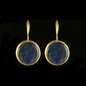 Simple Circle Earrings Lapis, $30, now featured on Fab.