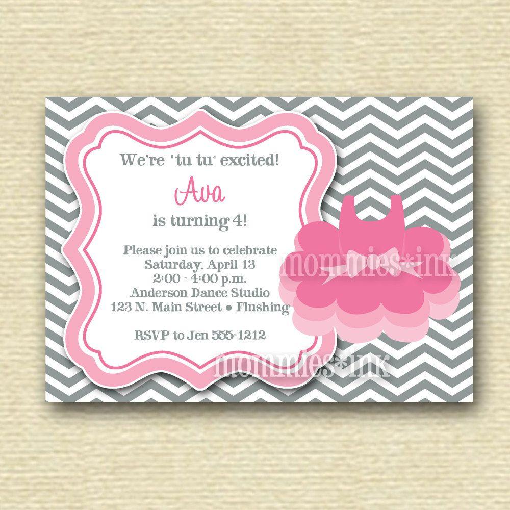 Chevron Ballet Birthday Party Invitation - Tutu or Toe Shoes  - PRINTABLE INVITATION DESIGN. $12.50, via Etsy.