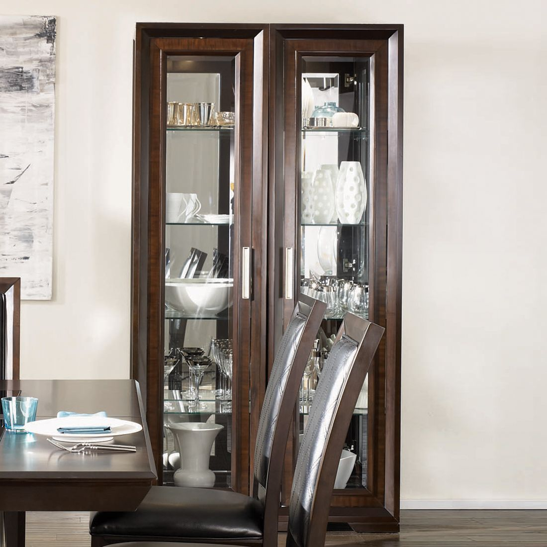 Vaisselier Etroit: Najarian Furniture Brentwood Double Pier Curio Cabinet At