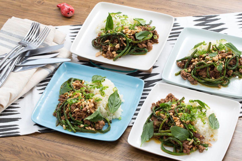 Korean Bulgogi-Style Lamb & Beef with Sticky Rice & Long ...