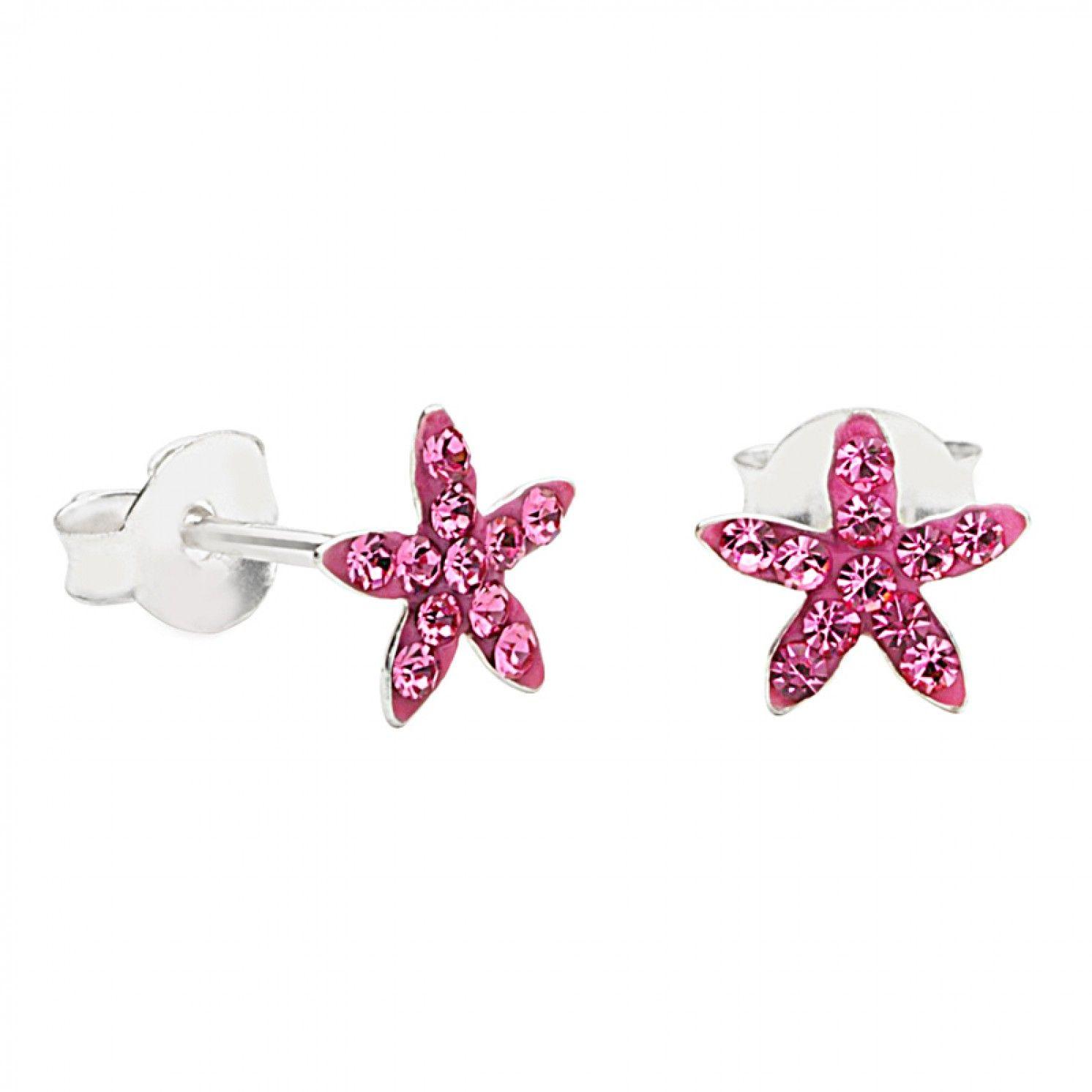 Lulu ladybird sterling silver pink crystal starfish earrings