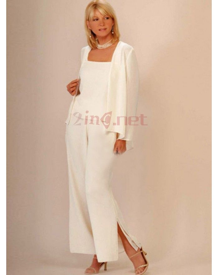 Elegant Satin Chiffon Mother Of The Bride Pant Suits Cheap ...