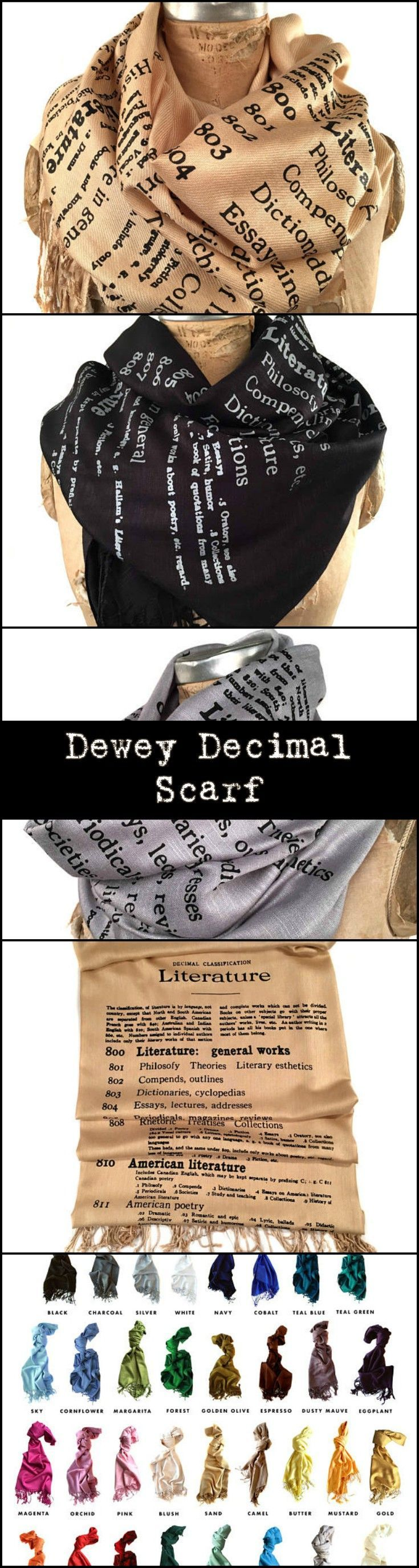 Super cute Dewey Decimal scarf available in several colors. I'm in love with the gold. #ad #scarves #bookporn #booklovers #books #fashion