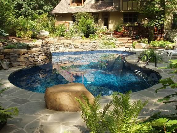 Wooded backyard and gorgeous in ground pool. Goodall Pools ... on ideas for sloped backyards, ideas for sloping backyards, ideas for muddy backyards,