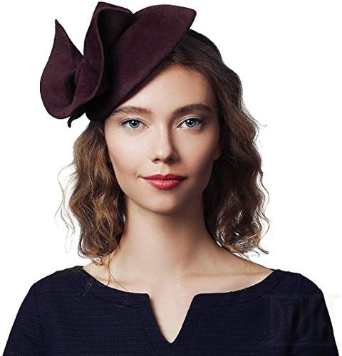 Buy Fur Felt Fascinator Headband Fall Cocktail Party Women Winter Hat Burgundy online - Popularbestsellers