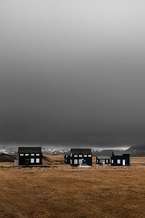 Iceland: Black houses are using sun's rays for warmth during prolonged cold weather.