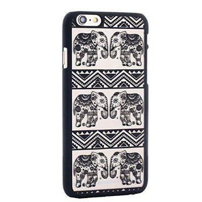 Malloom® For iPhone 6,Elephant Damask Vintage Pattern Matte Hard Case Cover (Black)