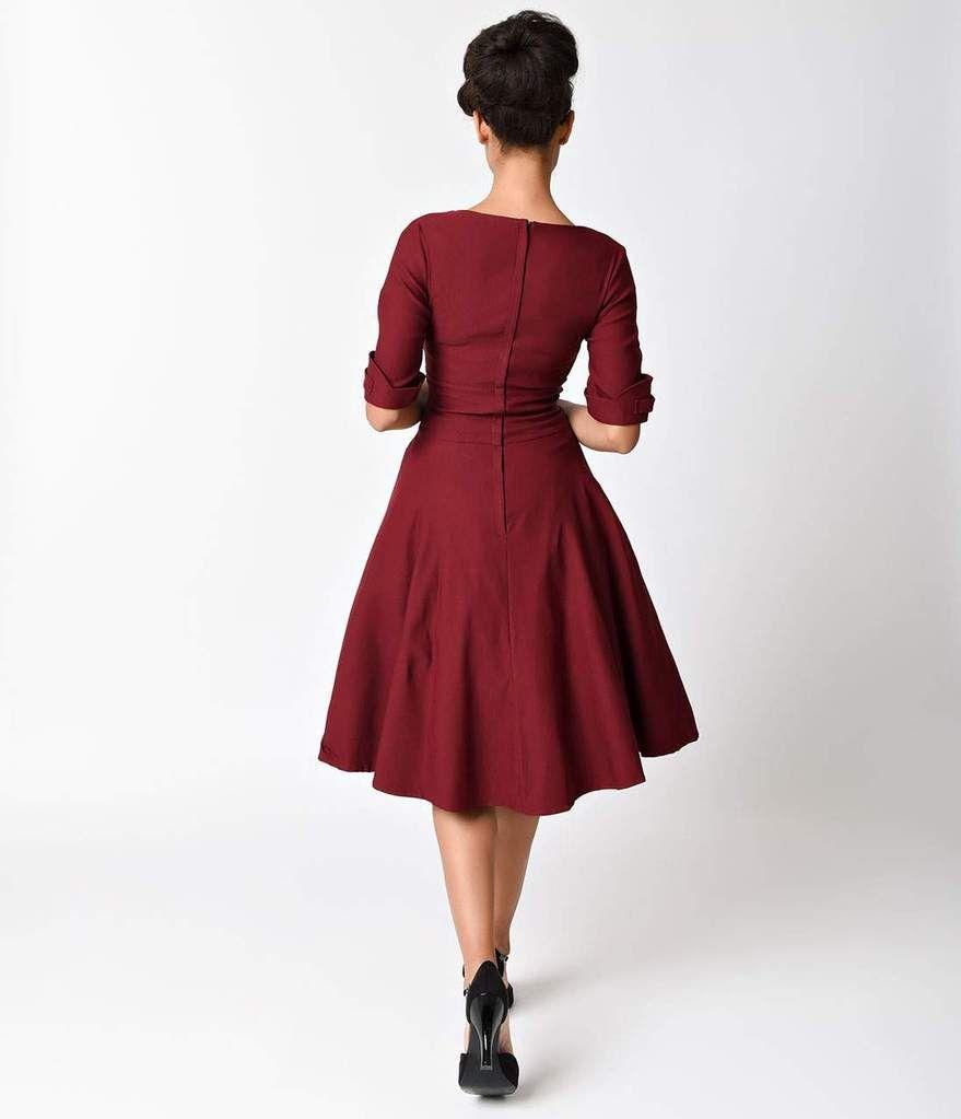 Unique Vintage 1950s Burgundy Delores Swing Dress With Sleeves Swing Dress With Sleeves Swing Dress Dresses