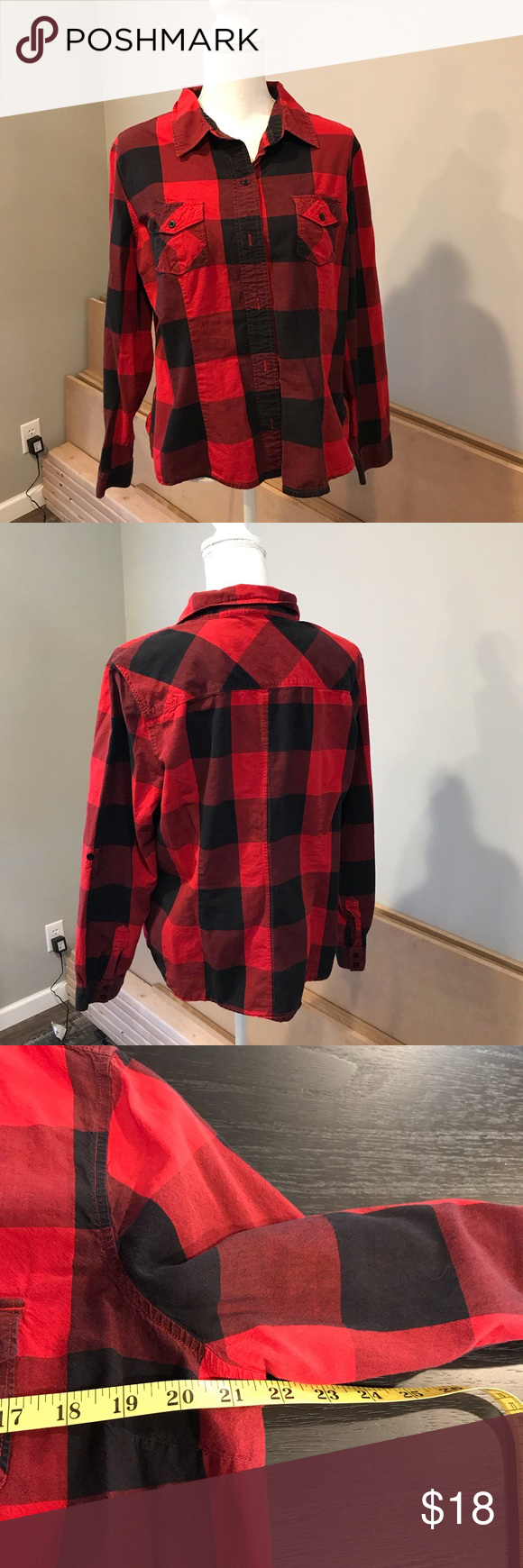 79531ead Cato buffalo plaid button down shirt Cato EUC Red and black buffalo button  down shirt Size XL 100% cotton Cato Tops Button Down Shirts