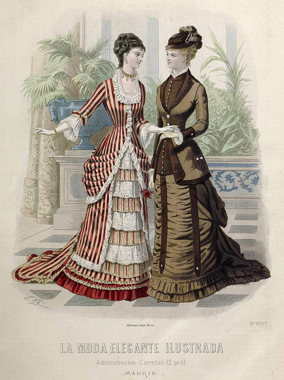 91bc0a346 1878. La moda elegante ilustrada. Trajes de soiree y de visita ...