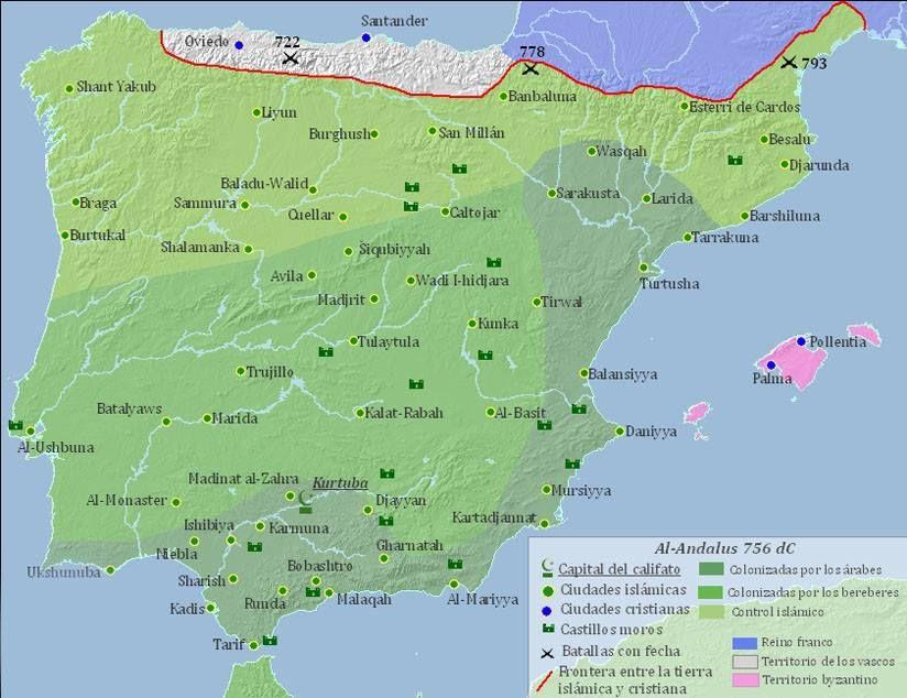 Iberia World Map.Map Of Al Andalus Or Islamic Iberia In 756 Ce Coastal Cities Of