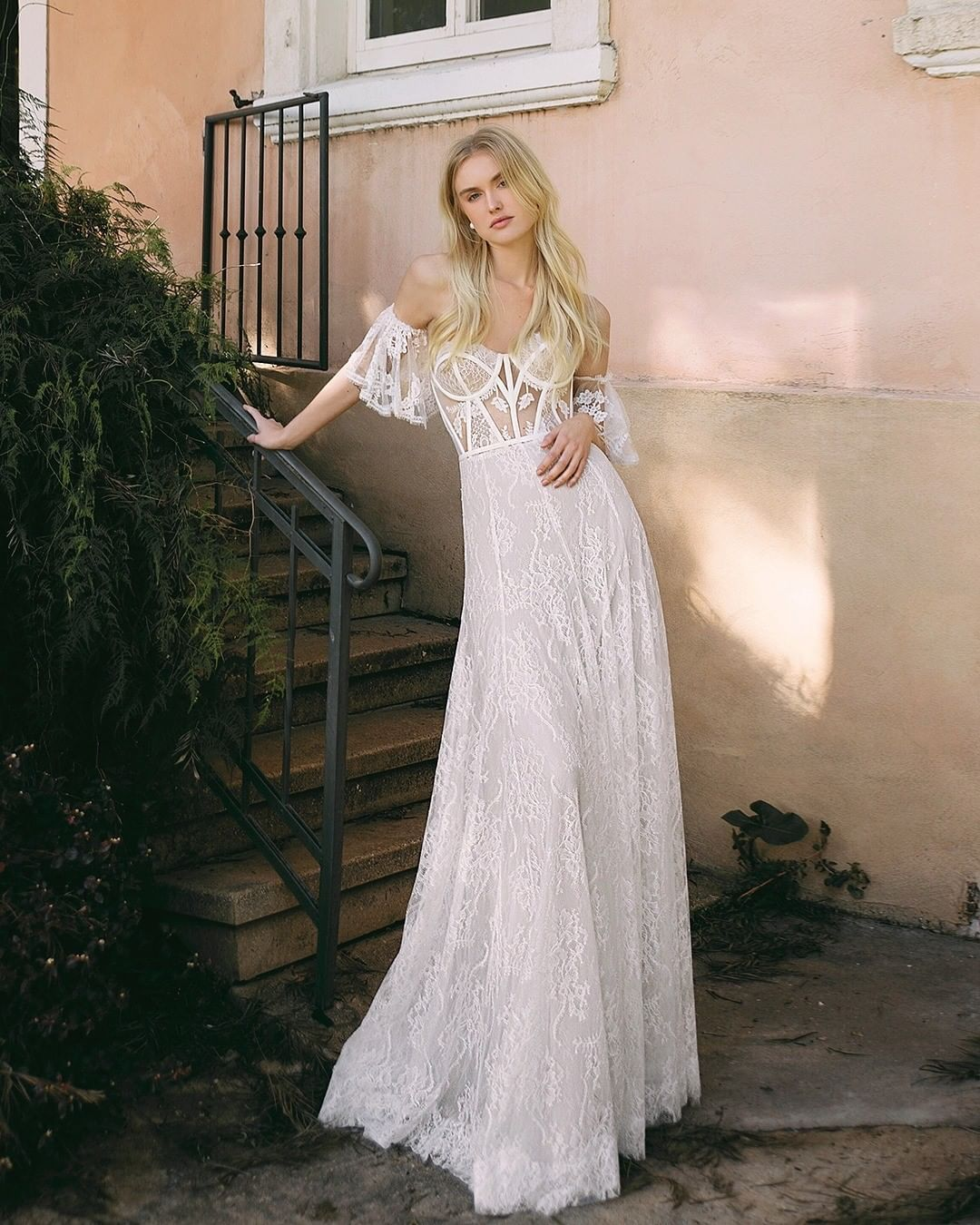'Eve' an alllace sweetheart corset wedding gown with
