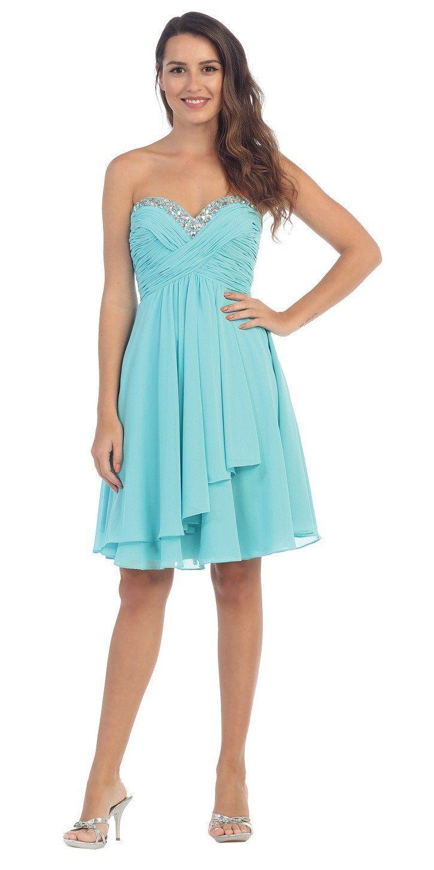 Chiffon Knee Length Semi Formal Dress Pink Strapless  30bbffc53