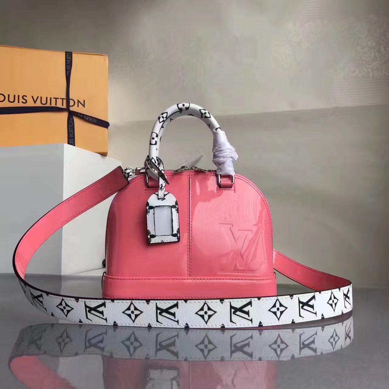 Louis Vuitton Alma BB Vernis Lisse Handbag Hot Pink 2017  429f21c37d9c6