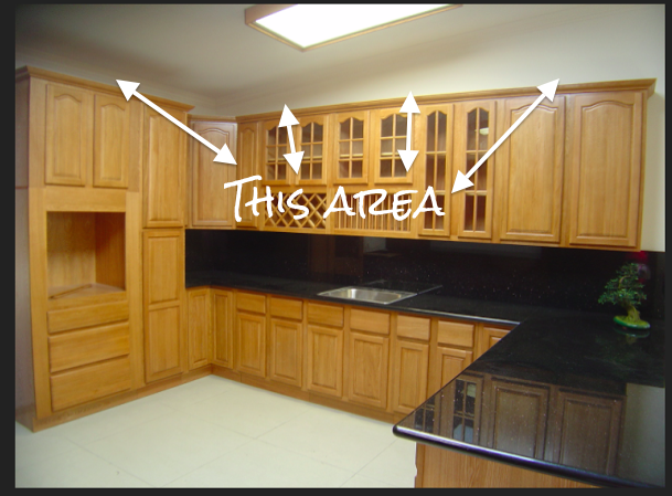Covering Fur Down The Space Above The Cabinets Above Kitchen Cabinets Kitchen Cabinets On A Budget Upper Kitchen Cabinets