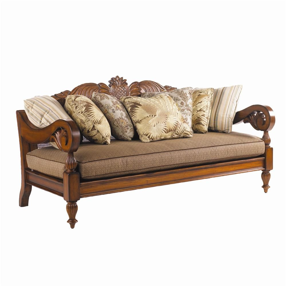 Island Estate Paradise Cove Sofa With Wood Carvings By Tommy Bahama Home    Becker Furniture World
