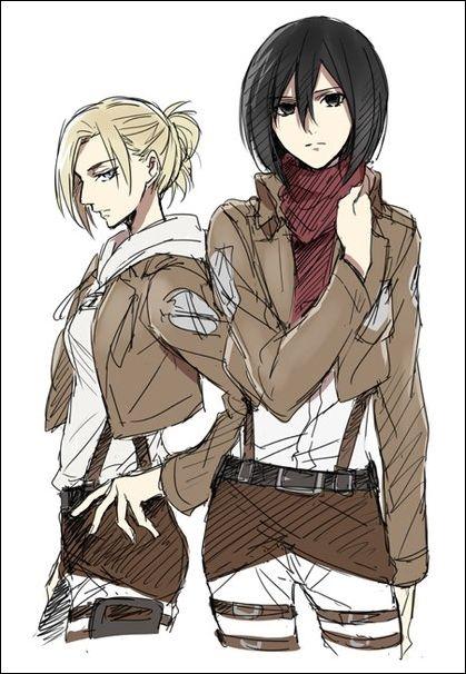 Shingeki No Kyojin Mikasa And Annie I Found Colored Versio Yay