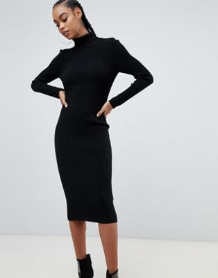 0fbf6b46828 DESIGN high neck rib midi dress in 2019