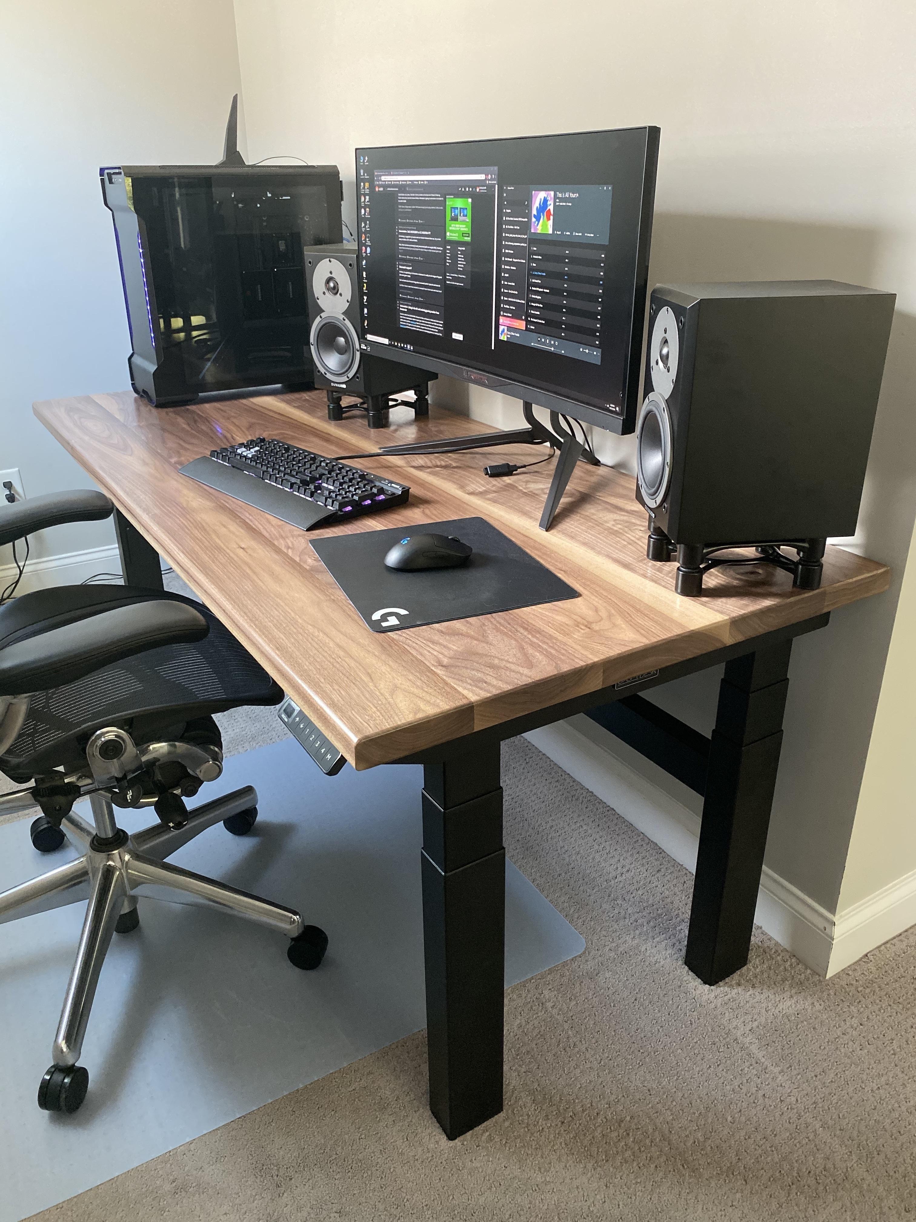 Build album walnut desktop with sit stand frame
