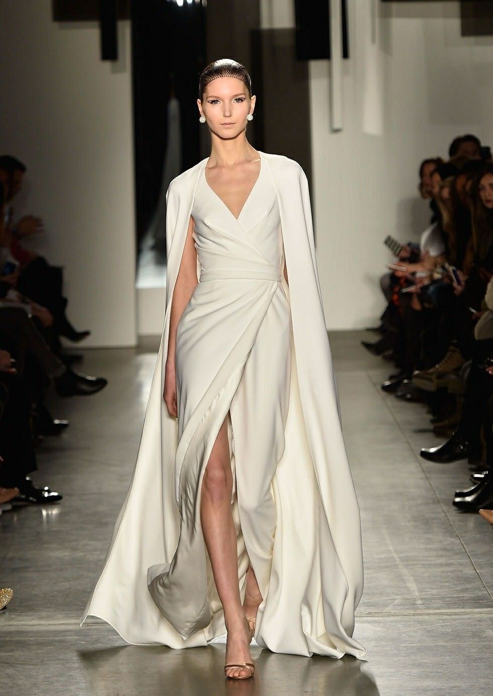 Cream gown cape fashion show dresses