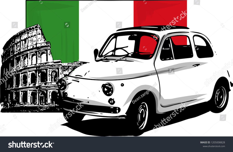 60s Vintage Italian Car Isolated On White Background Italian